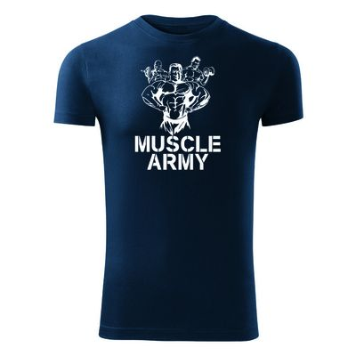 O&T fitness póló muscle army team, kék 180g/m2